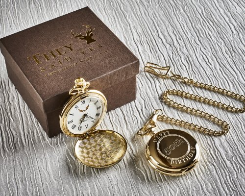 ANY BIRTHDAY PERSONALISED GOLD PLATED POCKET WATCH