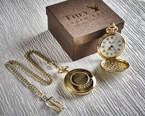 60th BIRTHDAY PERSONALISED GOLD PLATED POCKET WATCH