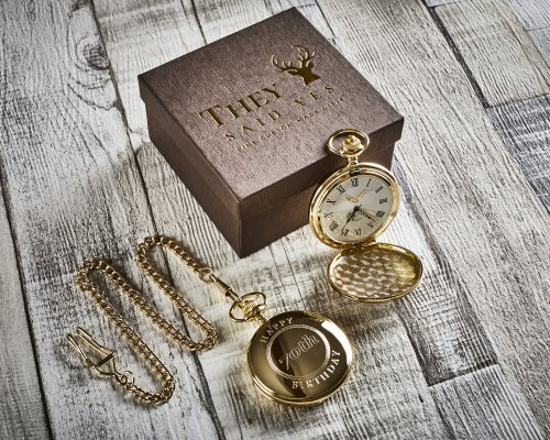 BIRTHDAY 70th GOLD PLATED PERSONALISED POCKET WATCH