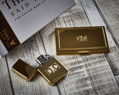 24k GOLD PLATED PERSONALISED LIGHTER AND CARD HOLDER