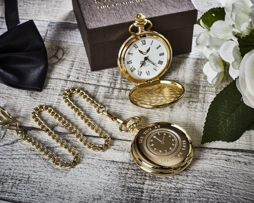 'SEE YOU AT' WEDDING DAY GOLD PLATED POCKET WATCH