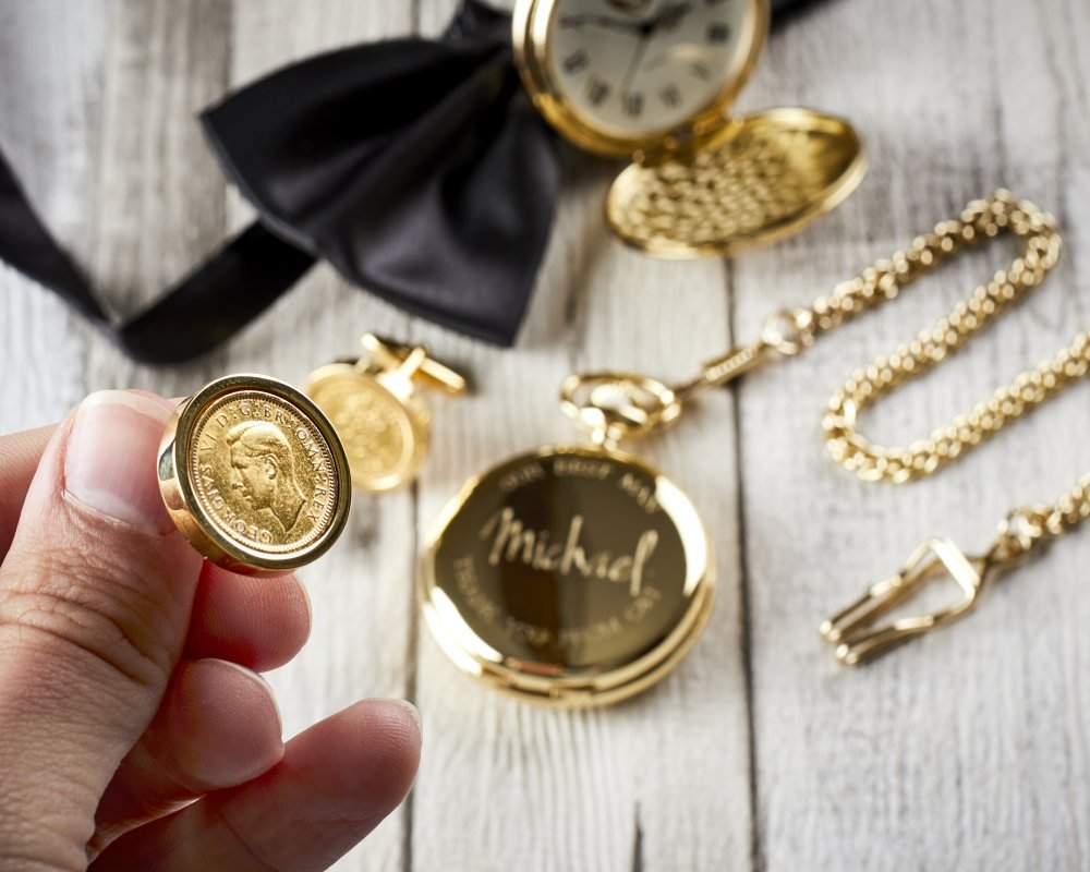 CUSTOMISED GOLD POCKET WATCH & LUCKY SIXPENCE CUFFLINKS