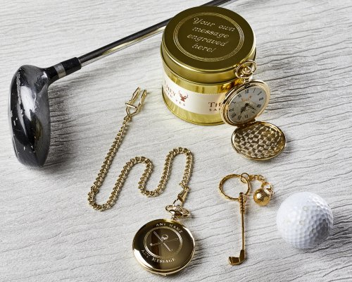 GOLF POCKET WATCH AND CLUB KEYRING WITH PERSONALISED CANISTER