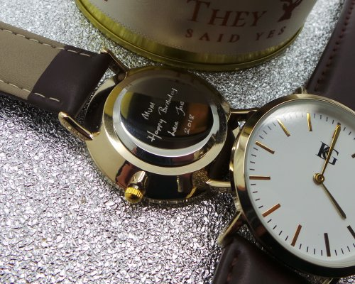 YOUR HANDWRITING PERSONALISED GOLD PLATED WRIST WATCH