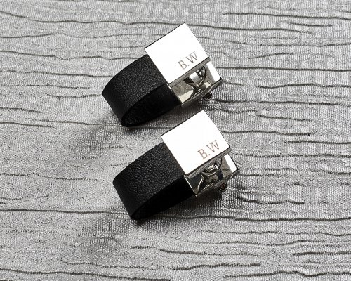 ANY INITIALS PERSONALISED LEATHER CUFFLINKS