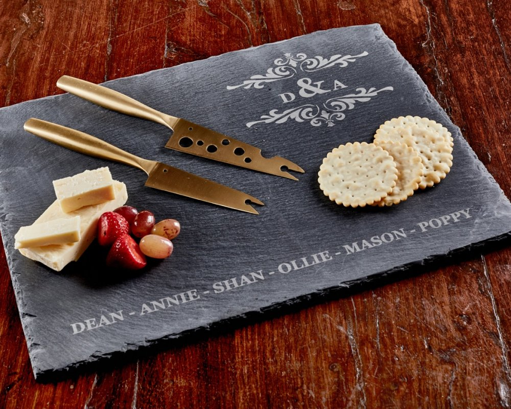 LARGE SLATE SERVING BOARD WITH GOLD KNIFE SET