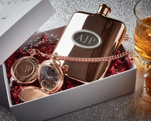 ROSE GOLD POCKET WATCH AND HIP FLASK GIFT SET