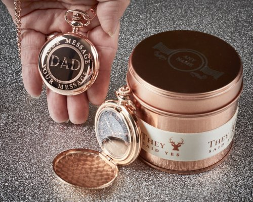 18 ct ROSE GOLD FULL HUNTER POCKET WATCH & CUSTOM ENGRAVED PRESENTATION CANISTER