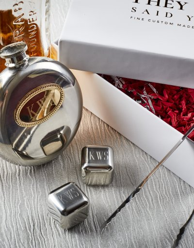 CUSTOM SILVER HIP FLASK WITH ICE CUBES AND TONGS