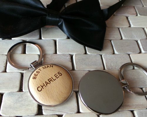 WOOD AND SILVER WEDDING ROLE KEYCHAIN