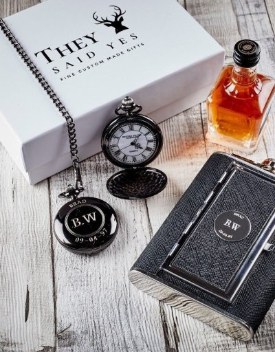 PERSONALISED POCKET WATCH AND HIP FLASK WITH SECRET COMPARTMENT