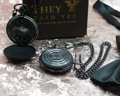 ANY INITIALS MATTE BLACK POCKET WATCH