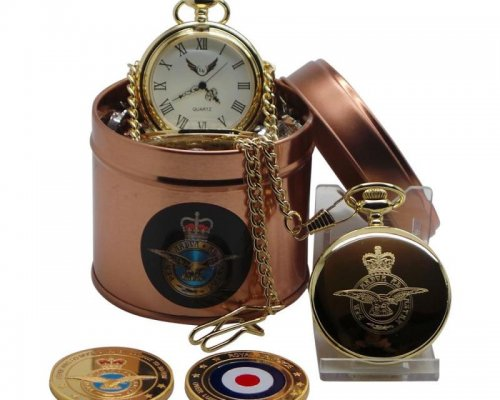 RAF PERSONALISED POCKET WATCH WITH COLLECTOR'S COIN