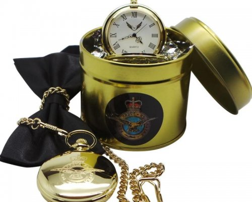 RAF GOLD PLATED POCKET WATCH WITH PRESENTATION CANISTER